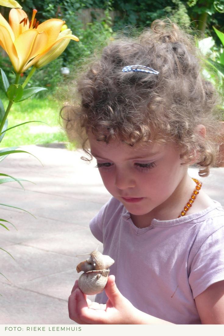 Kinder treffen bei der Gartenarbeit auch immer wieder auf tierische Bewohner. Faszination garantiert.
