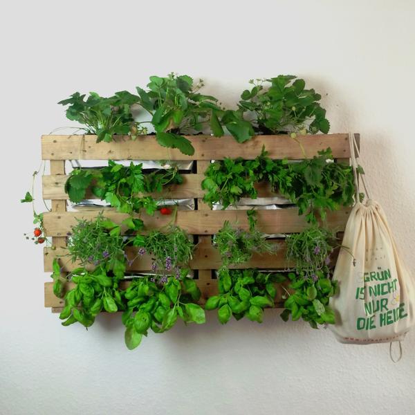 Ein vertikaler Garten ist platzsparend und zudem noch ein echter Hingucker. Aus Paletten kannst du ihn leicht selbst bauen. Foto: www.urban-kraut.de/ Benedikt Abé