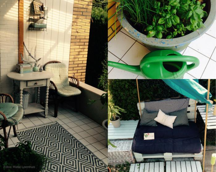 Die überdachte Terrasse ist echt ein Träumchen. In eine spontanen DYS Aktion habe ich mir eine kleine Sitzgelegenheit aus Paletten gebaut. Kräuter gibt`s vorerst nur aus dem Topf. Foto:Rieke Leemhuis